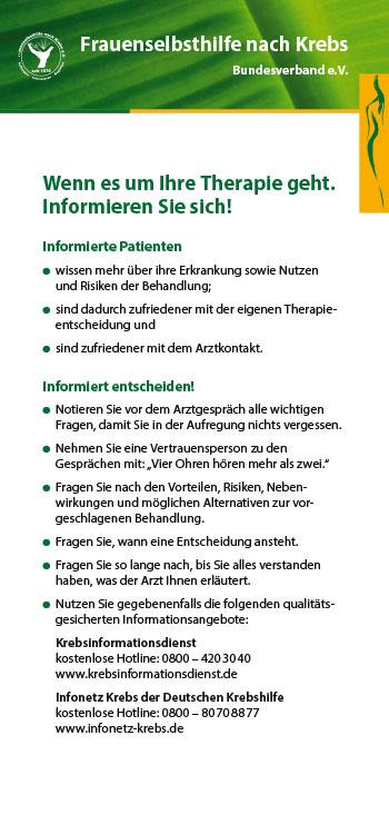 """Abbildung Infokarte """"Wenn es um Ihre Therapie geht"""""""