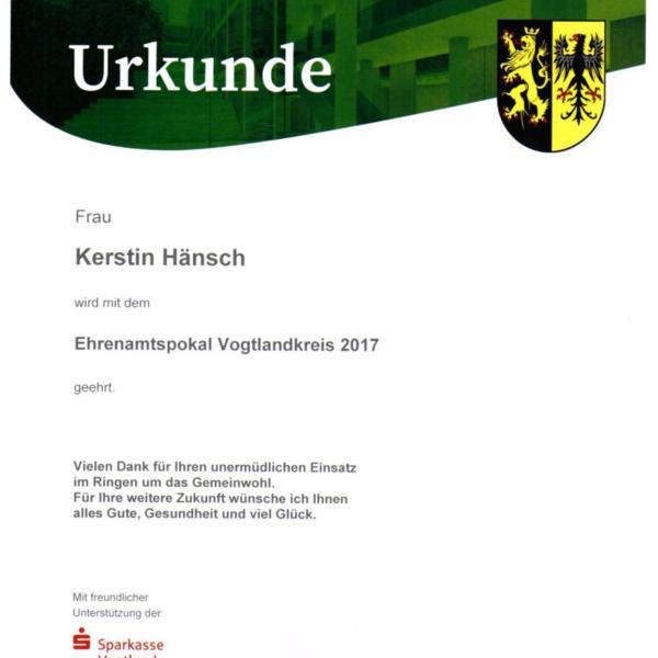 Urkunde Ehrenamtspokal 2017 für unsere Kassiererin